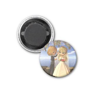 Cute Toon Wedding Couple on a Seaside Balcony Magnet