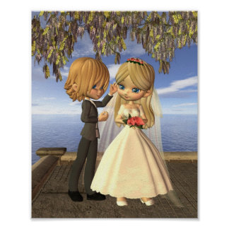 Cute Toon Wedding Couple on a Seaside Balcony Poster