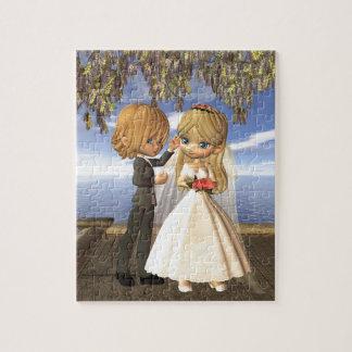 Cute Toon Wedding Couple on a Seaside Balcony Puzzles