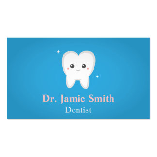 Cute Tooth, Blue and White Dental business cards