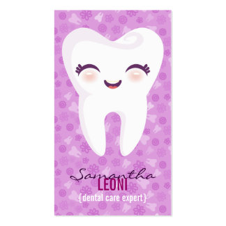 Cute Tooth - Brite Purple Custom Vertical Bizcards Double-Sided Standard Business Cards (Pack Of 100)