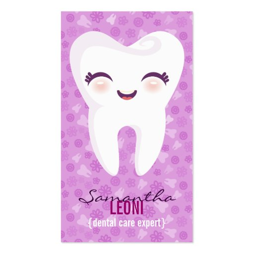 Cute Tooth - Brite Purple Custom Vertical Bizcards Business Card Templates
