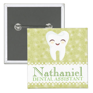 Cute Tooth - Green Custom Name Badge Button
