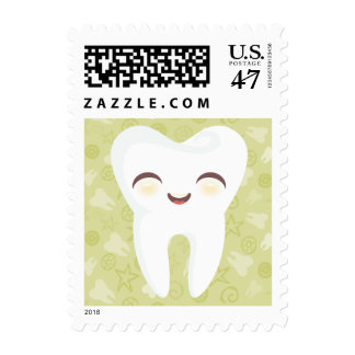 Cute Tooth - Green - Postage Stamps