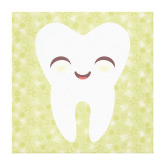 Cute Tooth on Green Pattern - Stretched Canvas Art