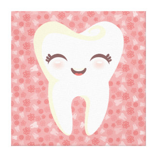 Cute Tooth on Pink Pattern - Stretched Canvas Art