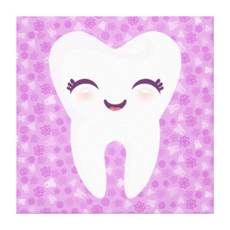 Cute Tooth on Purple Pattern - Canvas Wall Art