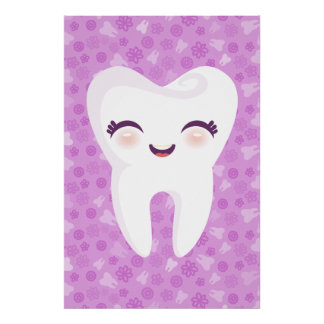 Cute Tooth on Purple Pattern Wall Art Poster