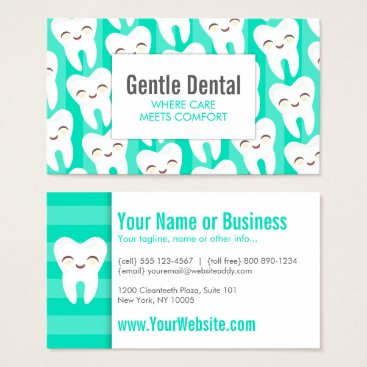 Professional Business Cute Tooth Pattern - Teal Custom Business Cards