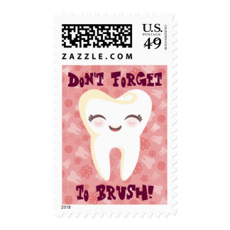 Cute Tooth - Pink Custom Text Postage Stamps