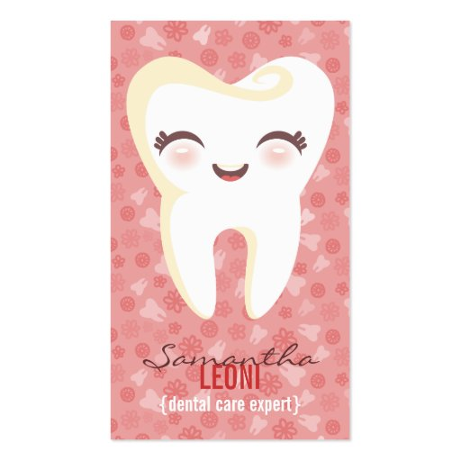 Cute Tooth - Pink Custom Vertical Business Cards