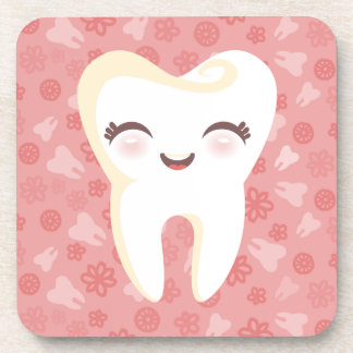 Cute Tooth - Pink Customizable Coaster Set