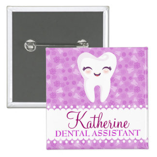 Cute Tooth - Purple Custom Name Badge Button