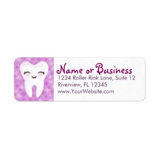 Cute Tooth - Purple - Custom Return Address Labels
