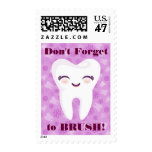 Cute Tooth - Purple Custom Text Postage Stamps