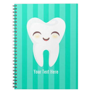 Cute Tooth - Teal Stripes Custom Notebook