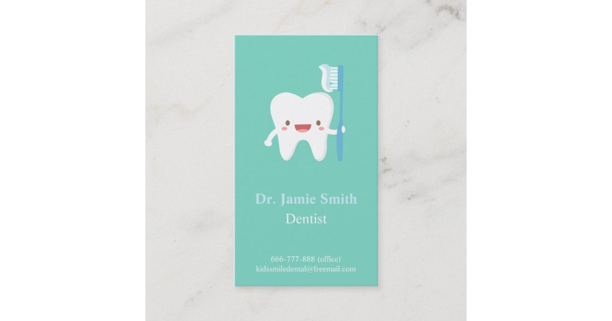 Cute Tooth Toothbrush Kids Dental Business Cards | Zazzle.com