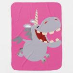 Cute Toothy Cartoon Unicorn Baby Blanket