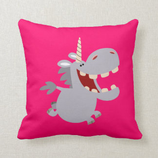 Cute Toothy Cartoon Unicorn Pillow