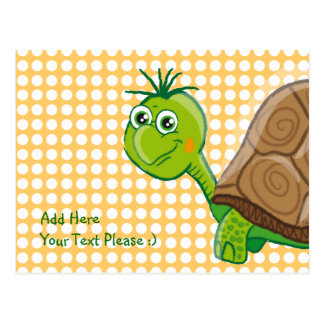 Cute Tortoise - Green Bubbles postcard