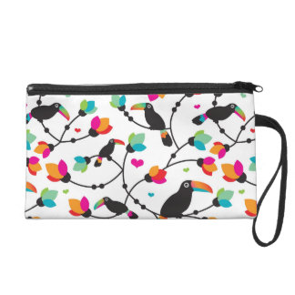 cute toucan bird tropical illustration wristlet