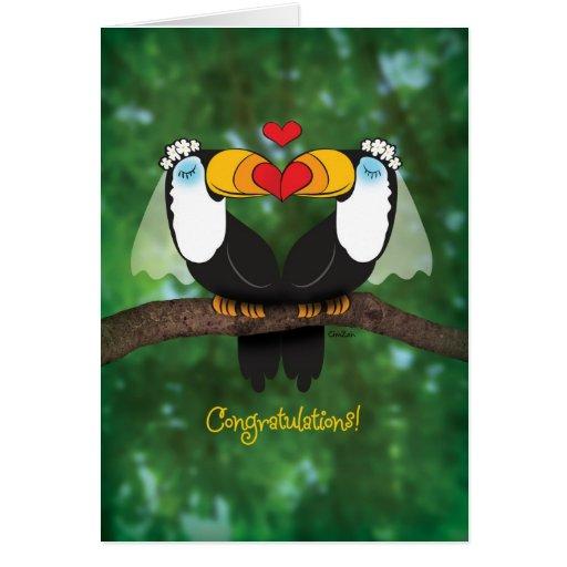 Cute Toucan Lesbian Wedding Congratulations Card