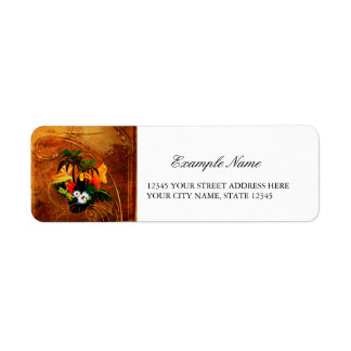 Cute toucan with flowers label