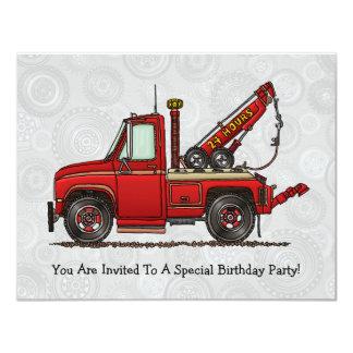 Cute Tow Truck Wrecker 4.25x5.5 Paper Invitation Card