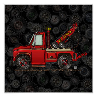 Cute Tow Truck Wrecker Posters