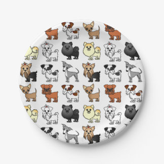 Cute Toy Dog Breed Pattern Paper Plate