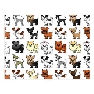 Cute Toy Dog Breed Pattern Post Cards