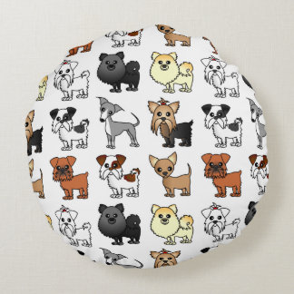 Cute Toy Dog Breed Pattern Round Pillow