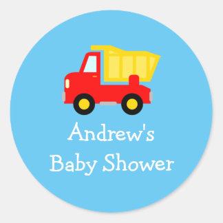 Cute toy dump truck baby shower stickers seals