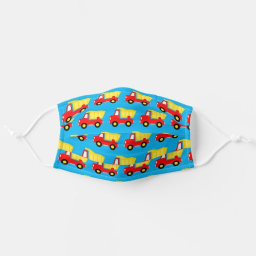 Cute toy dump truck print red and blue color kids cloth face mask