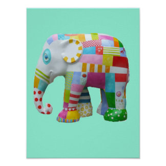 Cute toy patchwork elephant retro whimsical toy poster