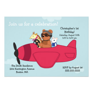 Cute Toy Plane Kid s Birthday Invitations
