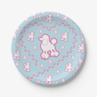 Cute Toy Poodle Pattern Paper Party Plates