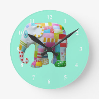 Cute toy retro elephant whimsical colourful round clocks