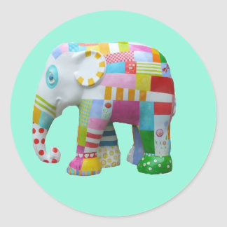 Cute toy retro elephant whimsical colourful classic round sticker