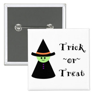 Cute Toy Witch Halloween Trick Or Treat Button