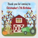 Cute Tractor and Barn Autumn Birthday Stickers