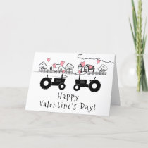 Cute Tractors in LOVE Farm Happy Valentine's Day Holiday Card