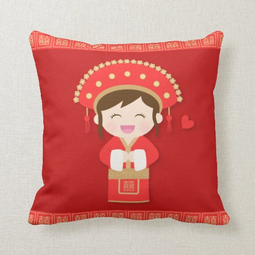 Traditional Chinese Pillow : Cute Traditional Chinese Bride Wedding Decor Throw Pillow Zazzle