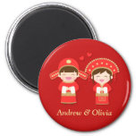 Cute Traditional Chinese Couple Wedding 2 Inch Round Magnet
