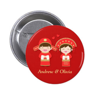 Cute Traditional Chinese Couple Wedding Button