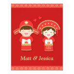 Cute Traditional Chinese Wedding Couple 4.25x5.5 Paper Invitation Card