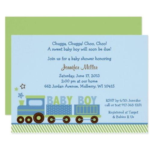Cute Train Baby Shower Card