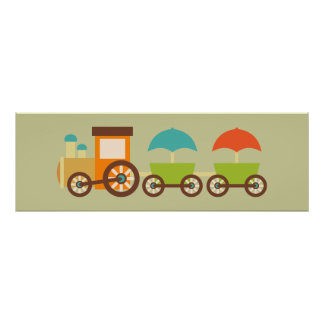 Cute Train Poster Wall Decor for Kids