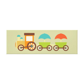 Cute Train Wrapped Canvas Kids Wall Decor Baby Stretched Canvas Print
