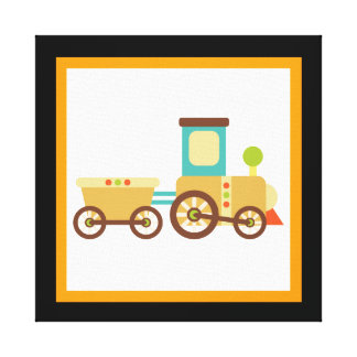 Cute Train Wrapped Canvas Wall Decor for Kids Canvas Print